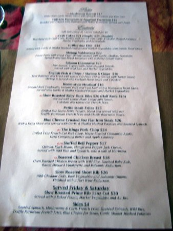 Bristol, PA: Menu - side 2, King George II