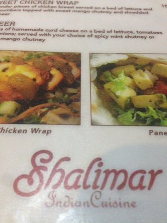 Shalimar Indian Restaurant: Menu