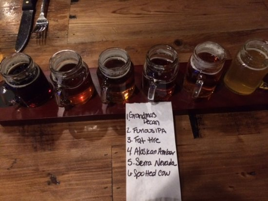 Mukwonago, WI: a flight of 6 difdfernt beers
