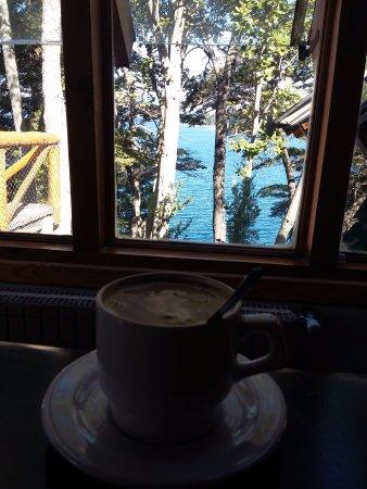 Punta Manzano : mi café en el living mirando el lago