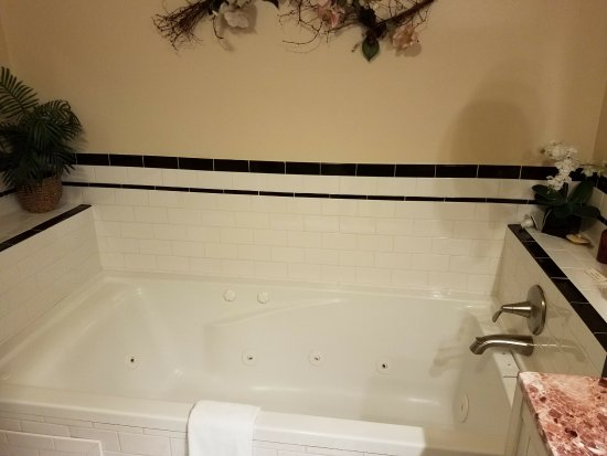 Gruene Homestead Inn: Whirlpool tub on opposite corner of bathroom from shower