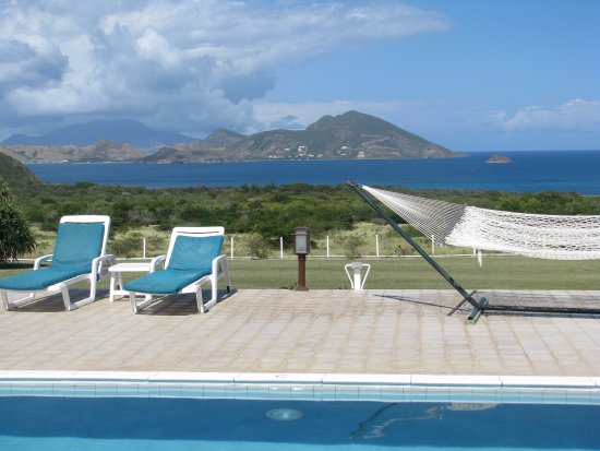 The Mount Nevis Hotel: The view across the pool to St Kitts