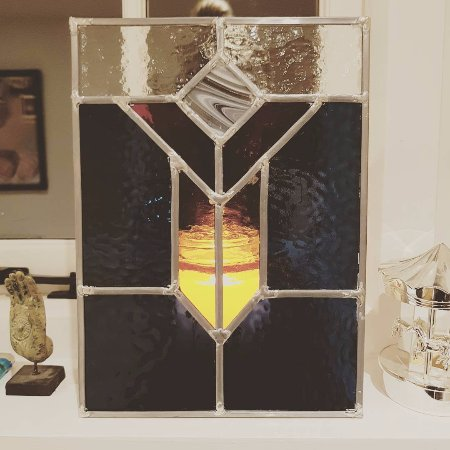 Chilham, UK : Finished stained glass leaded light panel