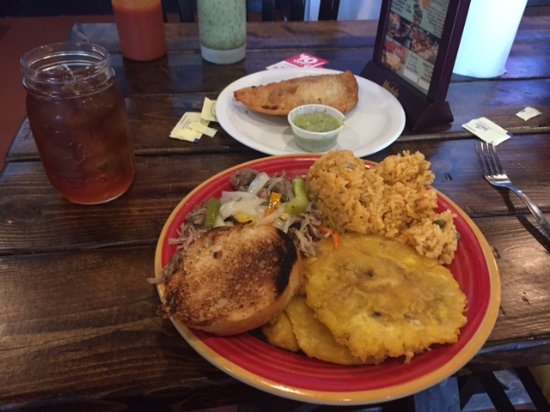Tropical Picken Chicken: Pork lunch and Ham and Cheese Empanada