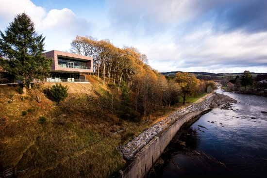 A view of the visitor centre from Pitlochry Dam