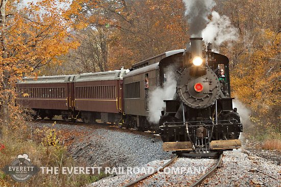 Hollidaysburg, PA: Number 11, our restored Alco 2-6-0 Mogul, steams southbound with an excursion train in Fall 2015