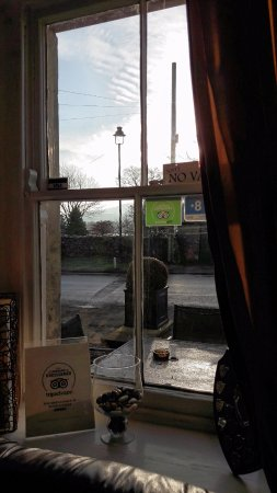Inside, looking out at The Wheatsheaf, Carperby