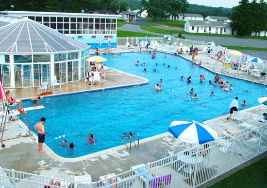 Sandy Cove Ministries: Outdoor pool with diving, kiddie pool, enclosed sports pool and hot tub