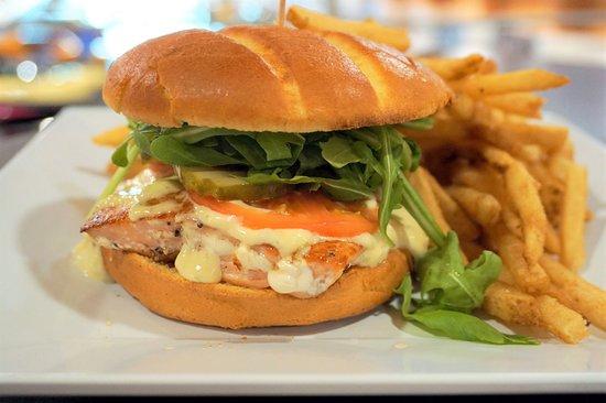 Tacoma, WA: Salmon Burger at Classics Cafe inside LeMay - America's Car Museum