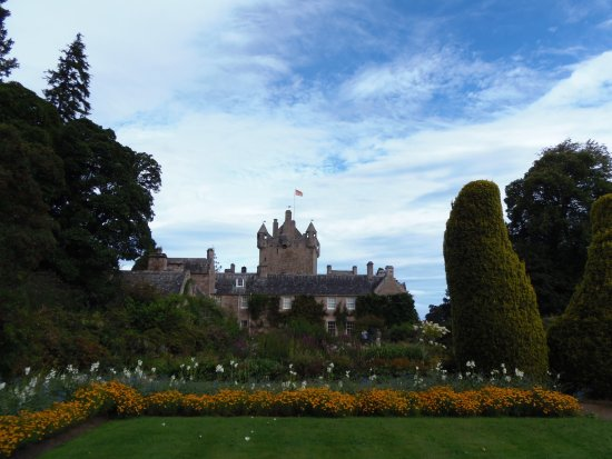 Cawdor Castle seen from 1 of its gardens, Nairn, Scotland