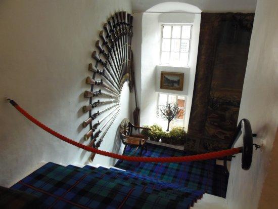 Cawdor Clan tartan carpeting in Cawdor Castle, Nairn, Scotland