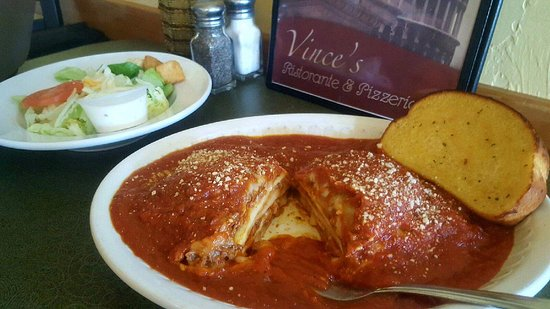 Monroe, WI: Meat Lasagna with mozzarella cheese and red sauce