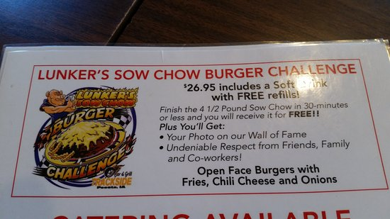 Trackside Bar and Grill: Lunker's Sow Chow Burger
