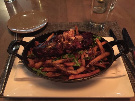 Littleton, MA : Delicious! Parmesan arugula fries with whiskey onion butter demi-glace