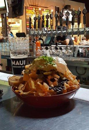 Napili-Honokowai, HI: yummy Nachos go well with the Black Rock Lager.