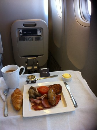 Full English breakfast onboard BA Club World