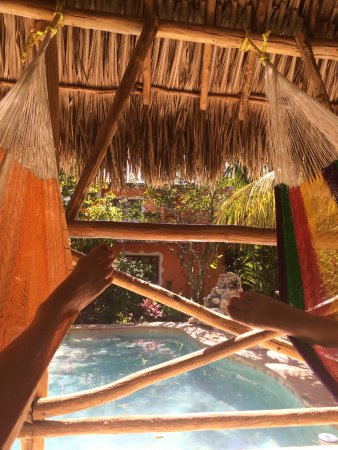 Izamal, Mexico: Poolside palapa with 3 hammocks