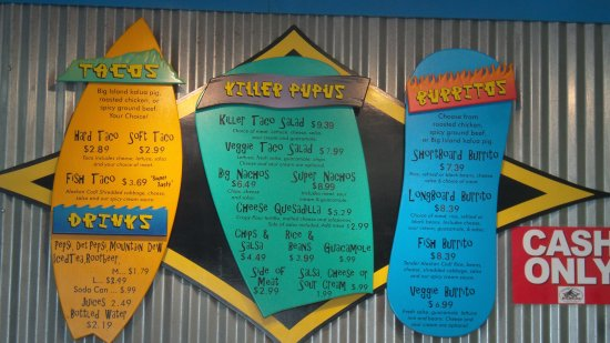 Killer Tacos Incorporated : menu
