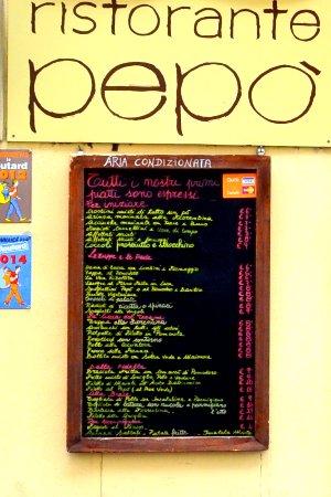 Osteria Pepo: Menú de la Ostería Pepó