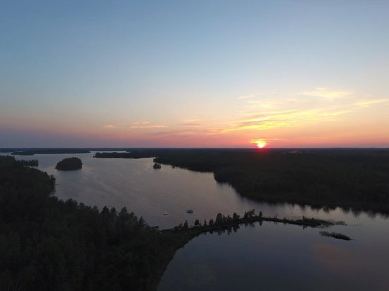 Ely, MN: Arial View of Resort and Bear Island Lake