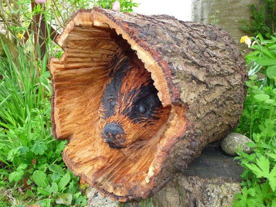 West Winds Yorkshire Tearooms: One of the garden wood sculptures