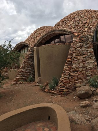 Limpopo Province, South Africa: stone work and architecture of the visitors center resembling the Great Zimbabwe