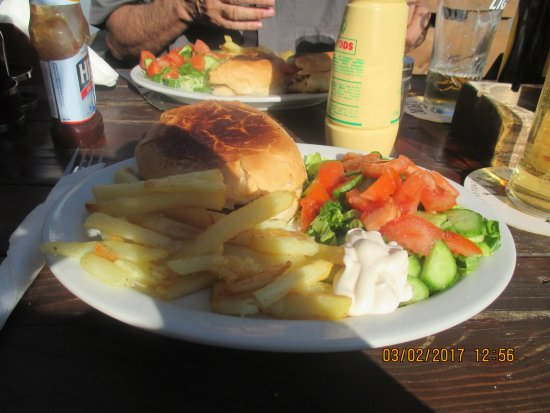 Tala, Cyprus: Burger chips salad