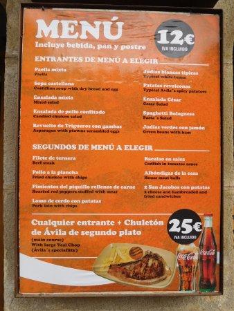 Restaurante Pipol: menú
