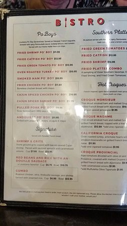 Santa Paula, CA: The Bistro Menu
