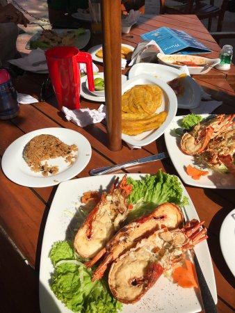 Donde Chucho : Lobster, Langostino (Shrimp) a la plancha, patacones con ahogao