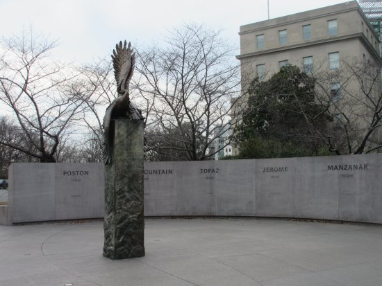 National Japanese American Memorial: Up close look with panels of names in WWII