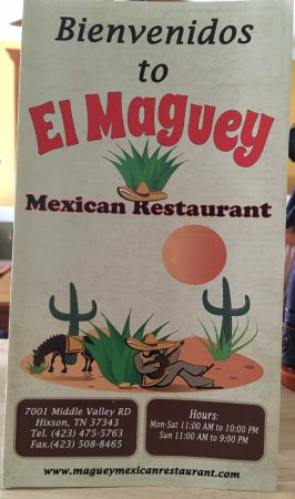 Hixson, TN: El Maguey Menu Cover