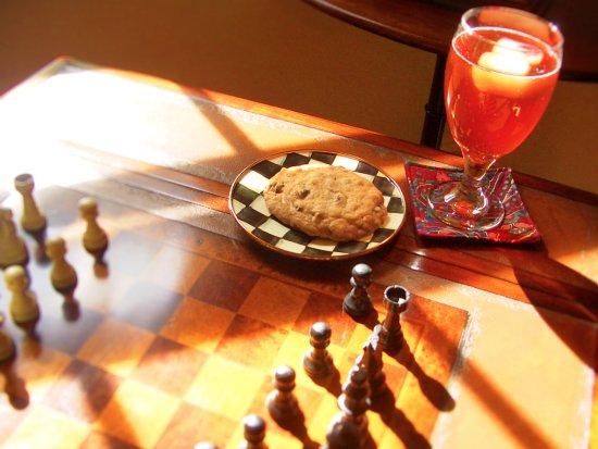 Auburn, Nova York: enjoying Sally's homemade chocolacte chip cookies while playing chess in the living room