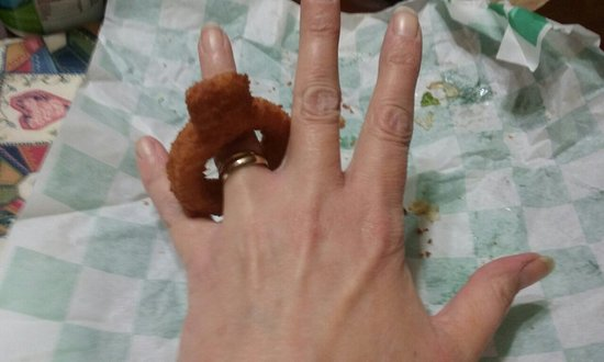 Rushville, IN: It pays to get the LARGE order of onion rings !