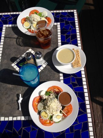 Stratford Court Cafe : Basil Pecan Chicken Salad and cup of Best Cauliflower soup you've even tasted!