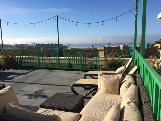"""Holiday Inn Oceanside Camp Pendleton Area: observation deck - comfy furniture and lounge chairs with lights and """"blue view"""""""
