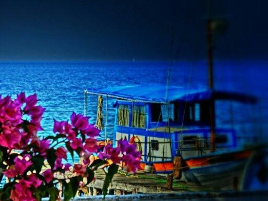 Boot des Besitzers Vasilis Vlachopoulos der Fischtaverne Kalami in Boukaris
