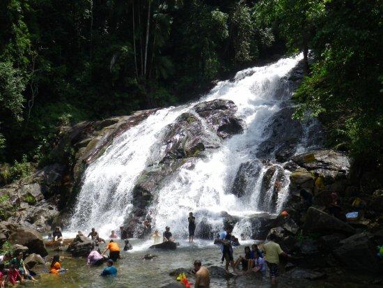 Johor, Malaysia: 滝壺と水に浸かって暑さを凌ぐ地元民。