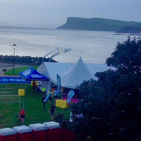 Ballycastle, UK: This is the view out our window during the bike rally