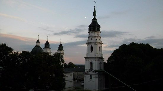 Chelm, Poland: Photo taken from a hill nearby the basil. The basil and it's bell tower look like taken from a t