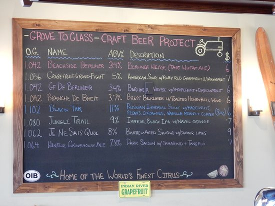 beer list picture of orchid island brewery vero beach tripadvisor