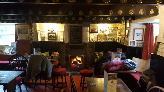 Inside the logun with a roaring fire
