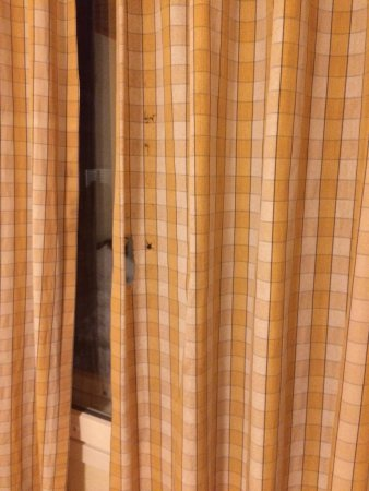 Hotel K5 Levi: Worn out curtains with holes, comfy seating for 3 in an 8 bed cabin and a small kettle and 2 sli