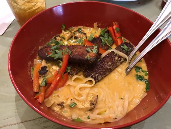 Sylva, NC: I love the new menus Thai chicken with noodle, and i add tempeh on that. And my wife order crabb