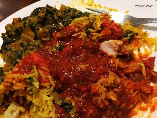 Bombay Mix Brixham: Saag Paneer and chicken madras with garlic rice.