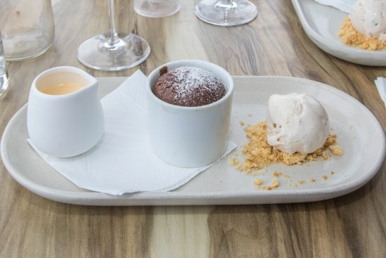 Lemon Tree Passage, Australia: Chocolate fondant with custard and ice cream.