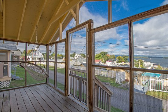 Weirs Beach, NH: The Screened-in Porch of Cottage #C-15