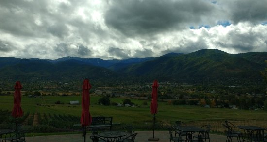 View across toward Ashland and the mountains from the winery.