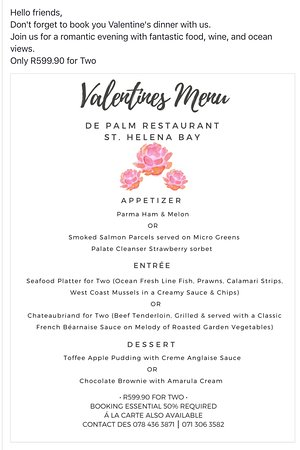 St. Helena Bay, South Africa: What are you doing for Valentine's Day.  Come and enjoy our valentines Lovers meal for two.