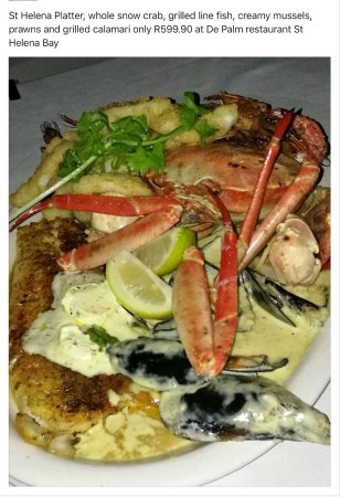 St. Helena Bay, South Africa: St Helena Platter, with snow crab, grilled line fish, prawns, calamari and mussels.
